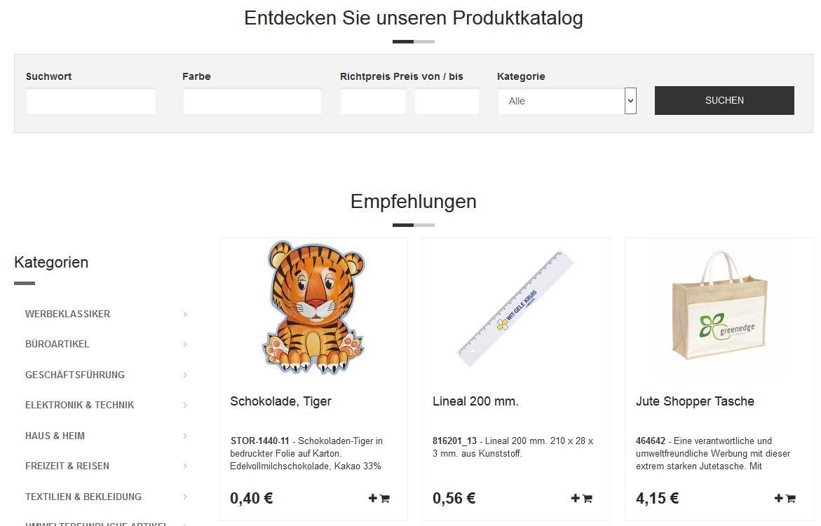 Screenshot des Shops SIGNal-Werbemittel.de für Werbemittel und Werbeartikel